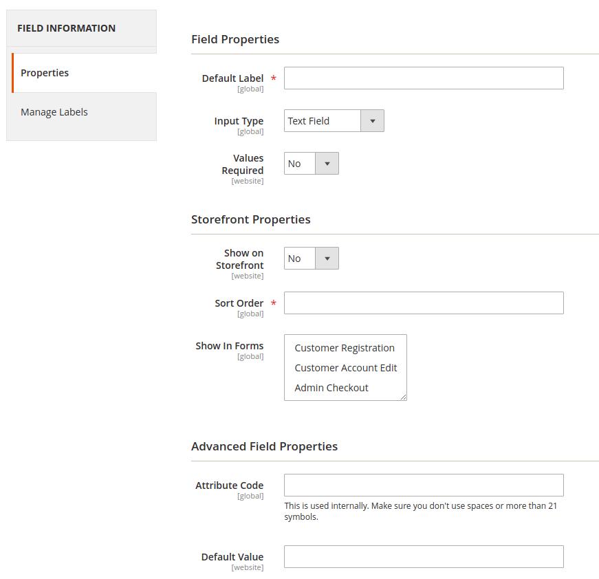 magento 2 custom fields