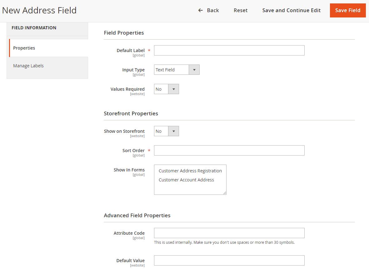 magento 2 address fields