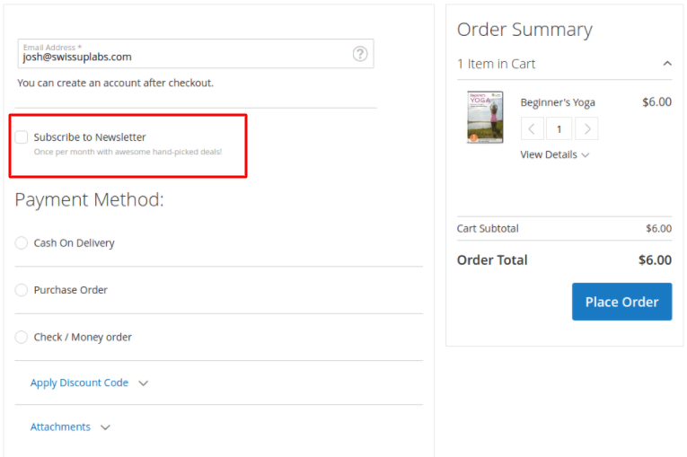 magento 2 checkout subscription