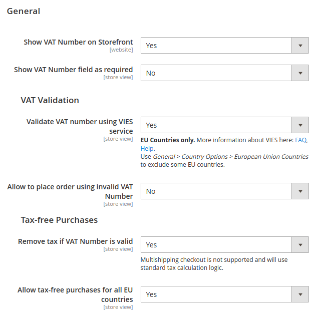 magento 2 VAT number validation