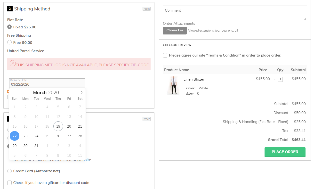 magento delivery date picker at checkout